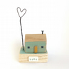 SALE - Little wooden house with a wire love heart