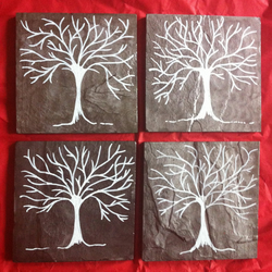 Silver and White Winter Trees Slate Coasters - set of 4