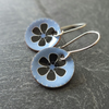 Enamelled blue and black flower earrings
