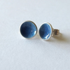 Slate blue enamelled silver earrings