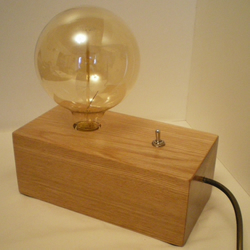 SOLID WELSH OAK TABLE or BEDSIDE LAMP with Retro Bulb & chrome switch.