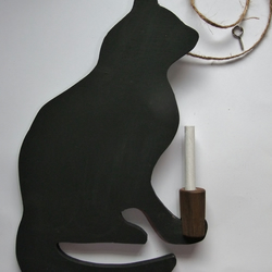 Black cat chalkboard wallhanging for messages holding her stick of chalk