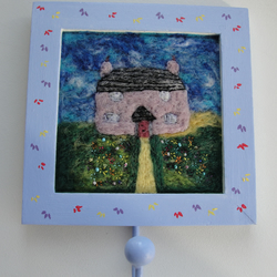 The Cottage - Needle Felt Picture in Hand Painted Frame with Metal Hanging Hook