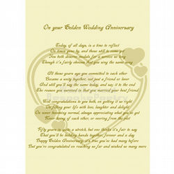 Golden Wedding Anniversary Poetry Gift Personalised Poem Art Print A4 Poster