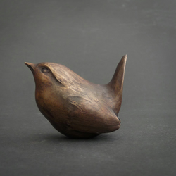 Wren, solid bronze sculpture.