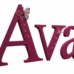 Wooden Butterly Wall Letters: Theme Personalised Name Nursery Bedroom Baby Kids