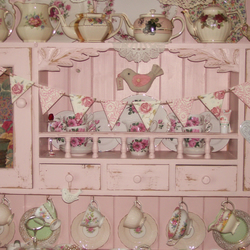 Handcrafted Shabby Chic Wooden Bunting made with Emma Bridgewater Rose & Bee Des