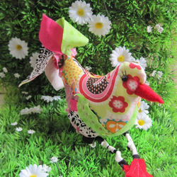 Upcycled fabric birdie in boots!
