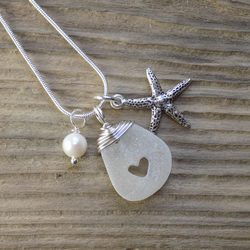 Natural sea glass heart pendant with starfish