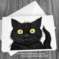 Cat Greeting Card - Black Cat - (Blank Inside)