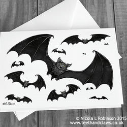 Bats Card - Halloween Card - (Blank Inside)