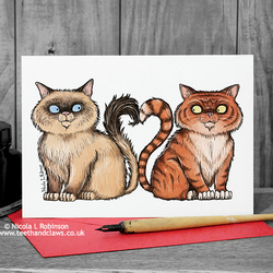 Cat Love Card -  Anniversary, Wedding, Engagement Card... (Blank inside)