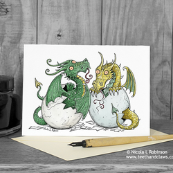 New Baby Card - Twins - Dragon Greeting Card  (Blank inside)