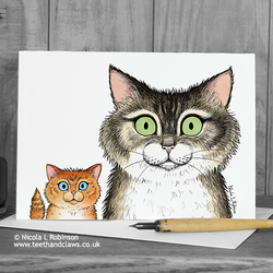 Cat Greeting Card - Cat and Kitten - Blank Inside