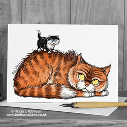 Cat Father's Day Card - Ginger Tom Cat - Cat Daddy Card - Blank Inside