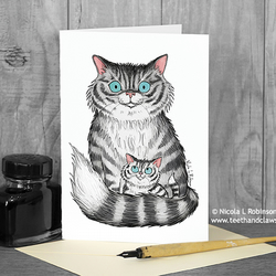 Cat Mum Card -Cat and Kitten - Blank Inside