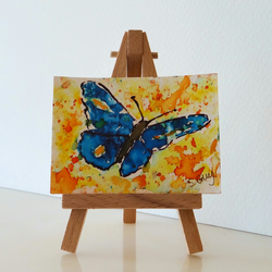 Blue and yellow butterfly miniature painting ACEO ORIGINAL