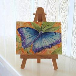 RESERVED FOR HAZEL BRANT Blue Morpho ACEO Miniature ORIGINAL Painting
