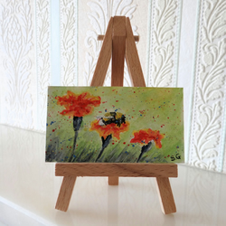SALE Flowers Marigolds and Bumble Bee Dolls House Miniature Painting ORIGINAL