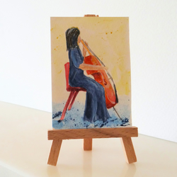 Cello Musical Instrument Painting ORIGINAL ACEO