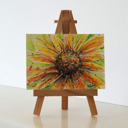 Sunflower or Daisy Flowers Miniature Painting ORIGINAL ACEO Mini Folksy