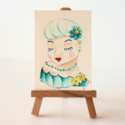 1950 lady head vase with turquoise dress and flower ACEO 1950s