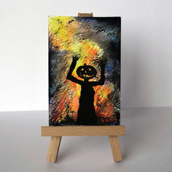 Mr Pumpkin Man silhouette against fire ORIGINAL ACEO