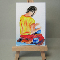 Musician Busking Painting Miniature