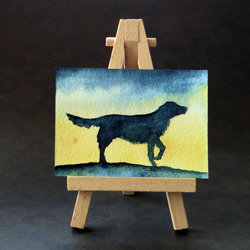 Flat Coat Retriever dog painting ORIGINAL ACEO