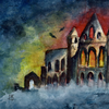 Halloween Whitby Abbey miniature painting FREE UK POST