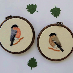 Cross stitch bird pattern - Bullfinches - PDF printable - cross stitch chart