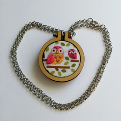 Mother and Baby Owl hand embroidered pendant - pink