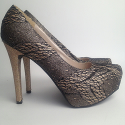 black and gold lace covered high heel shoes  folksy
