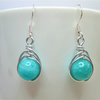 Amazonite gemstone wire wrapped bead earrings