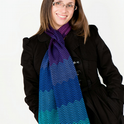 Purple Scarf, Blue Scarf, , Autumn, Ladies Scarf, Chevron Scarf,  306