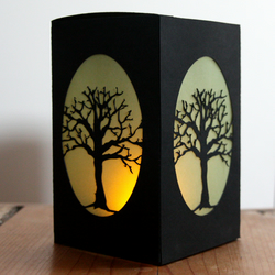 2 x Tree paper lanterns, tree lumaries, leafless tree silhouette, winter tree