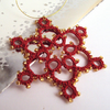 Tatted Red Christmas Tree Decoration With Gold Beads
