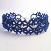 Tatted Bracelet - Lillian in blue with blue beads