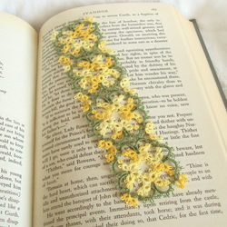 Yellow and Green Lace Bookmark in Tatting