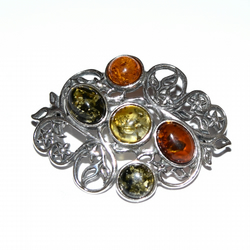 amber and sterling silver brooch