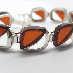 sterling silver bracelet with natural honey baltic amber