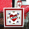 Love Tattoo, Heart & Swallows - greeting card & free glitter gift tag