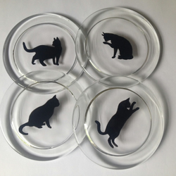Set of 4 Cat Coasters in a Gift Box