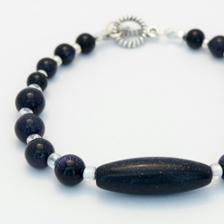 SALE! Blue Goldstone Necklace and Bracelet Set