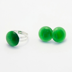 HALF PRICE! Green Cat Eye Earrings and Ring Set