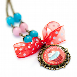 Cupcake and Bow Necklace