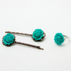 Turquoise Hair Accessories and Ring Set