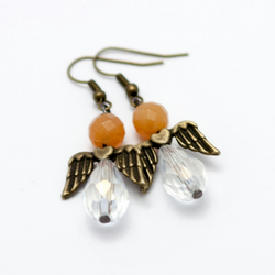 HALF PRICE! Orange Agate Angel Earrings