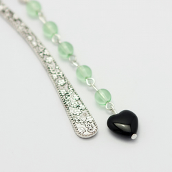 SALE! Green and Black Heart Bookmark