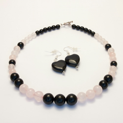 Rose Quartz and Black Onyx Necklace and Earrings Set